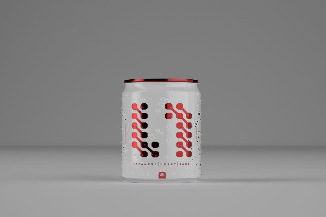 red saké japonais en canette