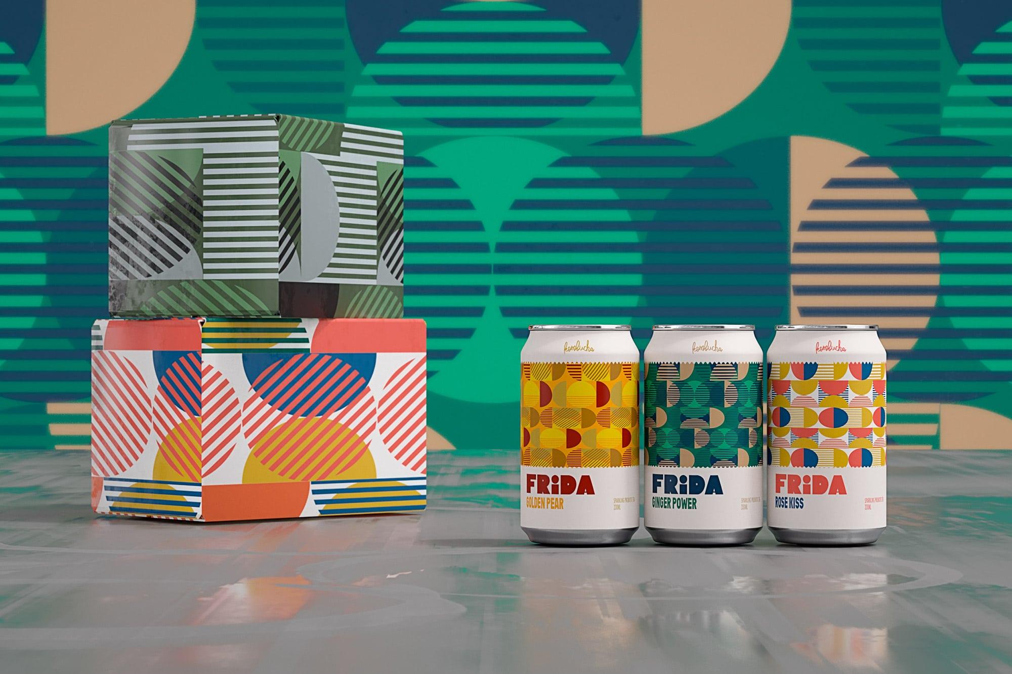 Gamme Frida Kombucha avec cartons.