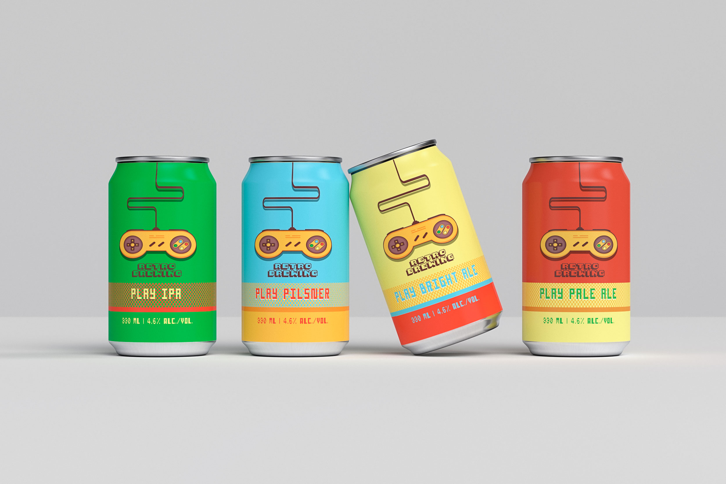 Canettes de bière retro gaming.