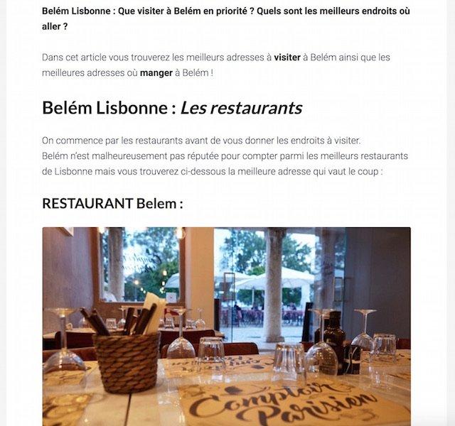 Monétisation via le restaurant Belem