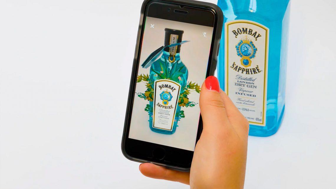 Expérience de Réalité Augmentée sur une bouteille de Gin Bombay Sapphire