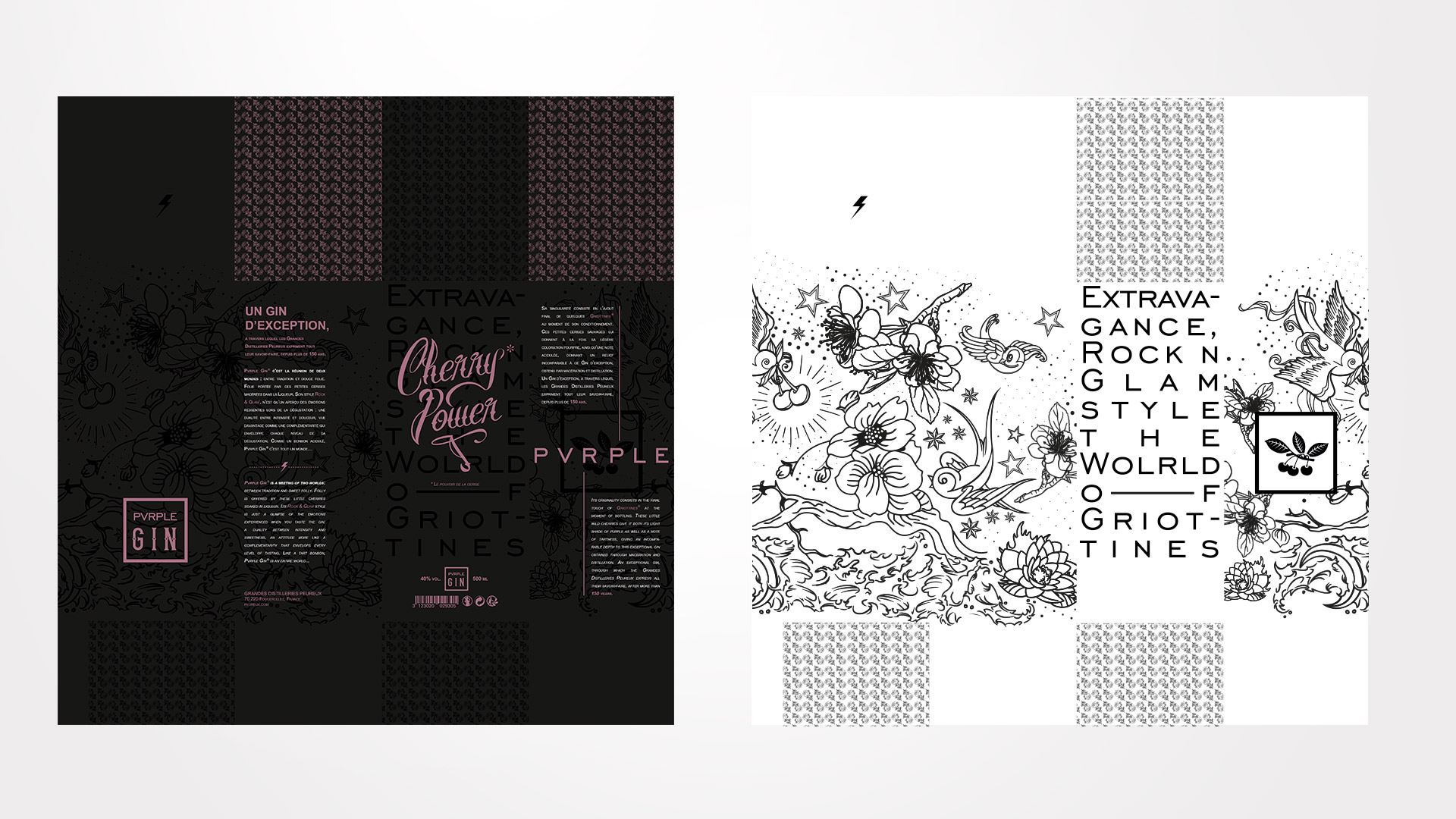 Template Packaging design Pvrple Gin
