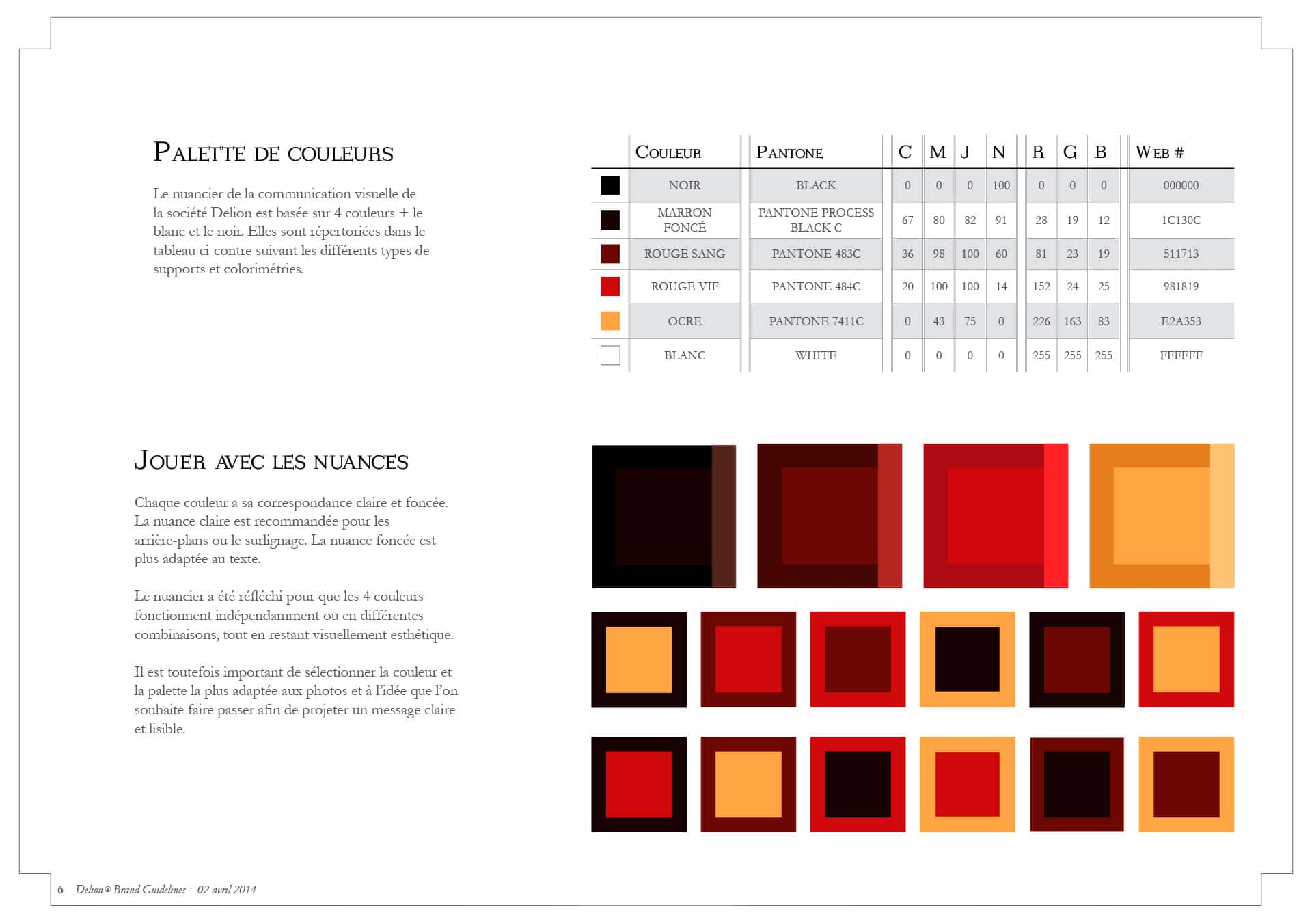Visual identity, colour chart and pantones