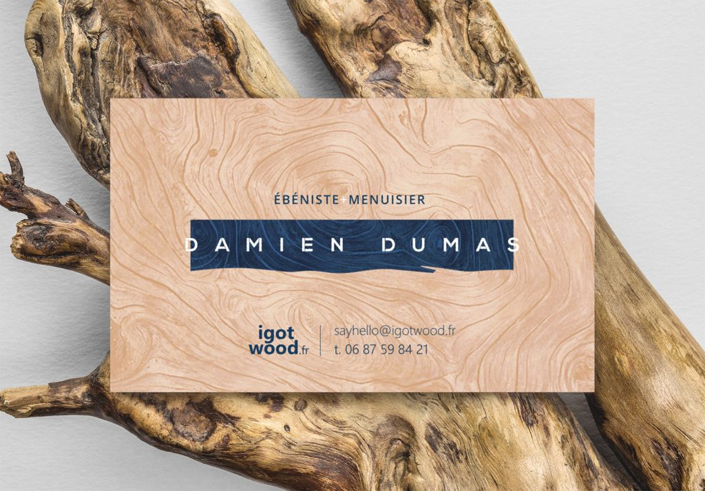 Business card of carpenter-cabinetmaker Damien Dumas