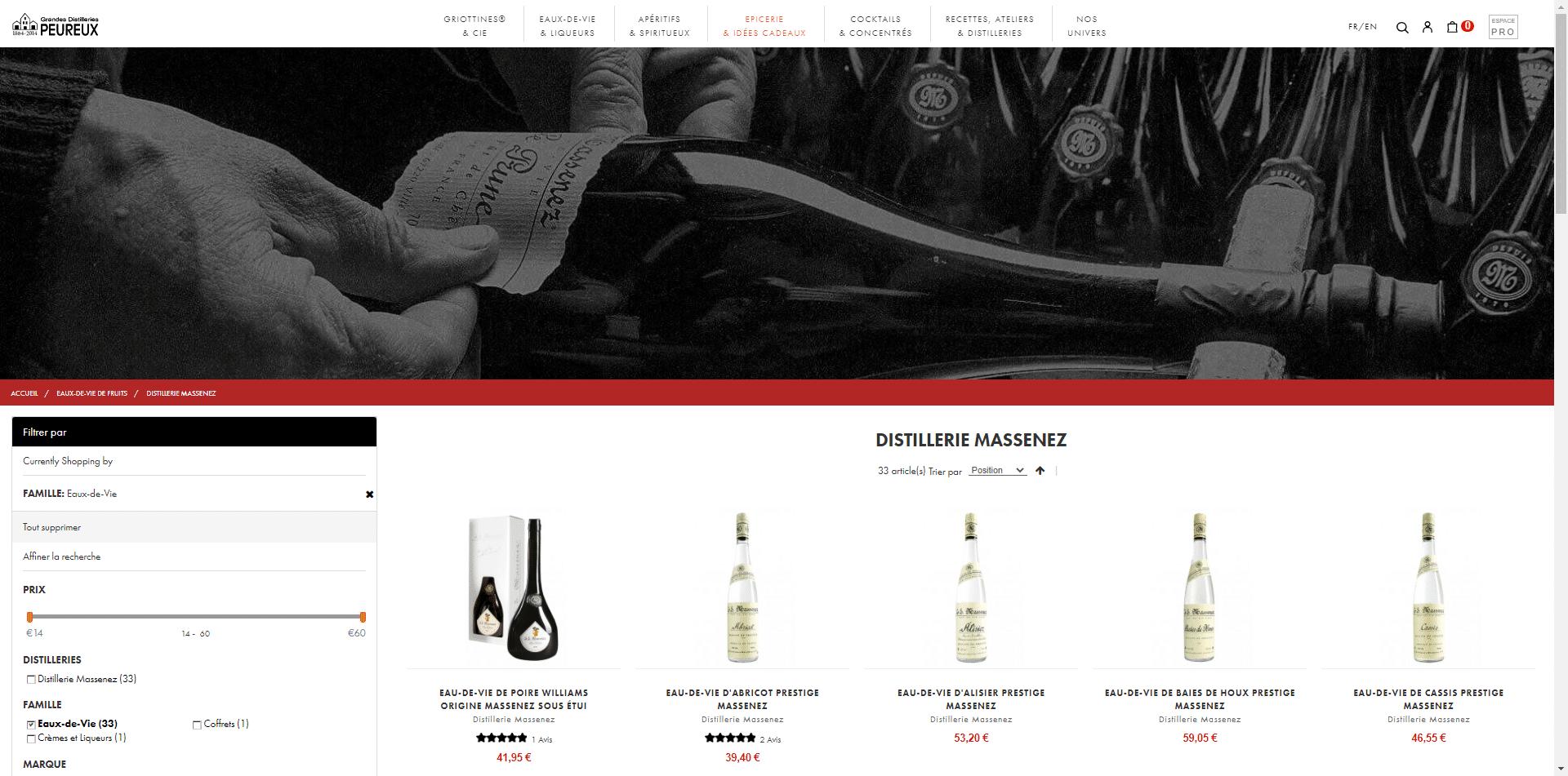 Site internet Grandes Distilleries Peureux
