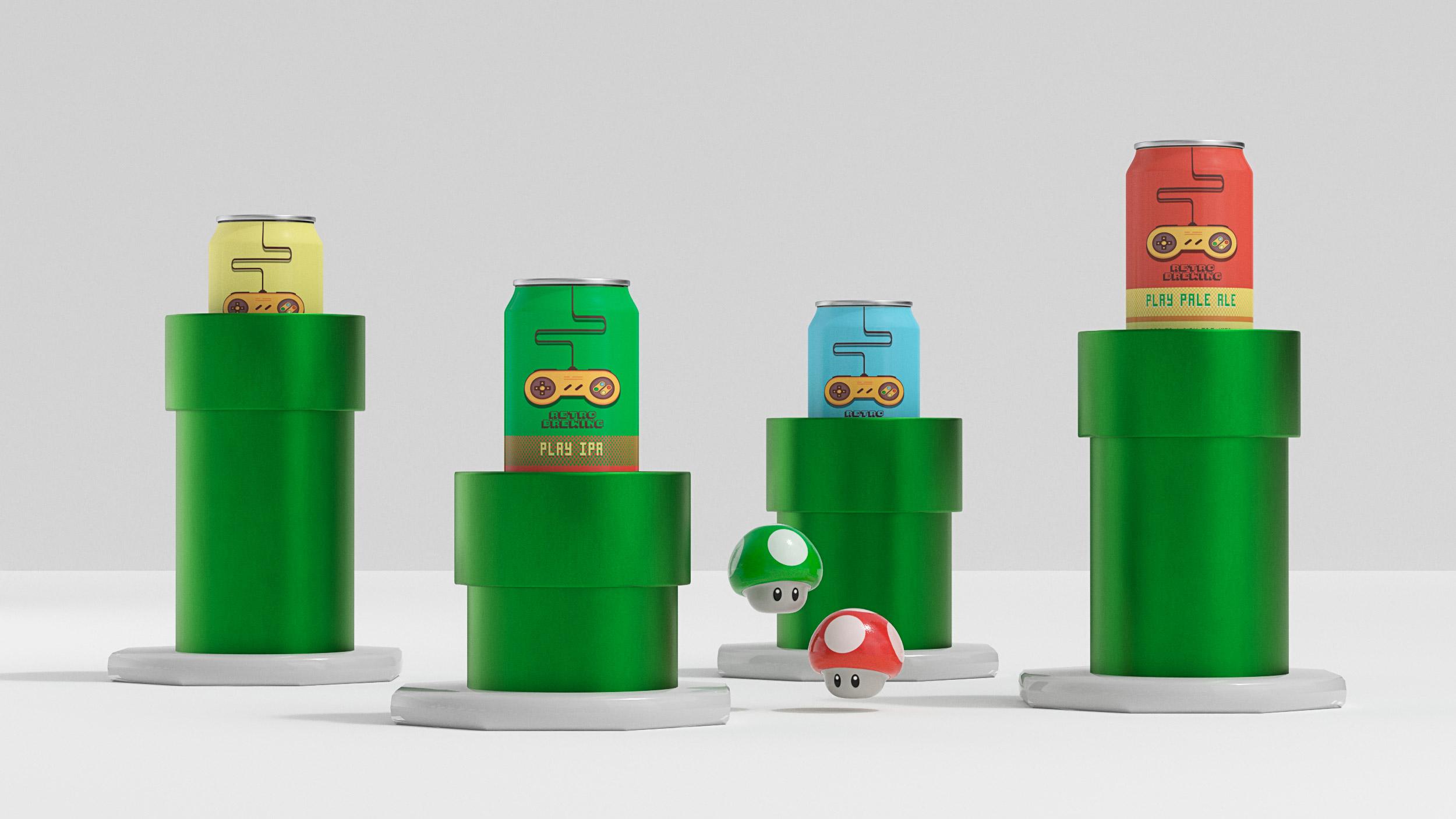 Présentation des canettes façon Super Mario Bros