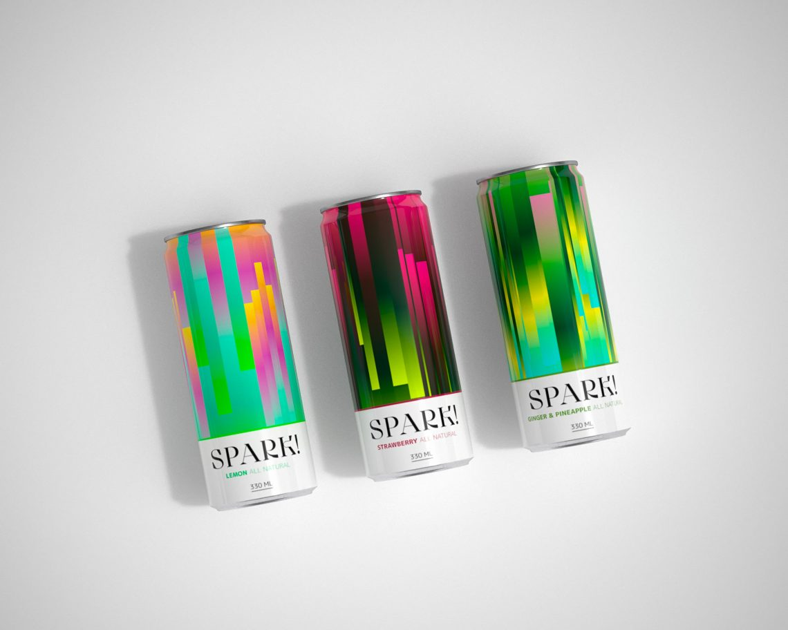 Three cans of Spark! Lemon, strawberry and ginger/pineapple.